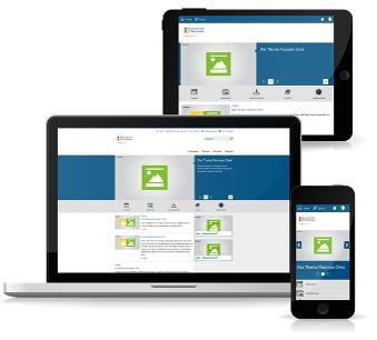 Darstellung der Standardlösung auf einerm Laptop, Tablet und Smartphone mit individuell angepassten Layouts