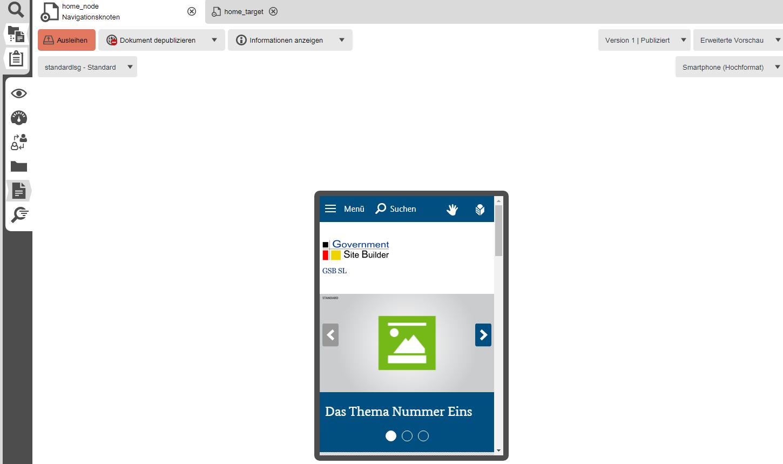 Redaktionelle Funktionen - Mobile Vorschau